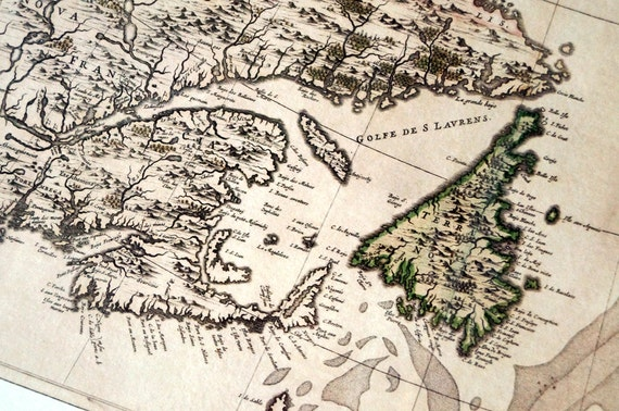 East Coast 1 - Antique Map Print on Eco Bamboo paper textured edge Made in Canada Maritime Newfoundland Quebec New Brunswick PEI Nova Scotia