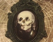 Vintage Illusion Vanity/Skull picture set on a Baroque frame Necklace/pendant Halloween