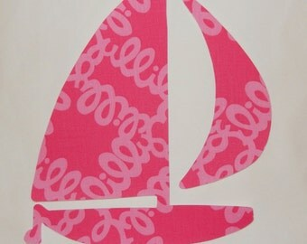 New Made To Order Sailboat Pillow made with Lilly Pulitzer Loopy Lilly fabric