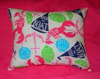 New Pillow made with Lilly Pulitzer Butter Me Up fabric