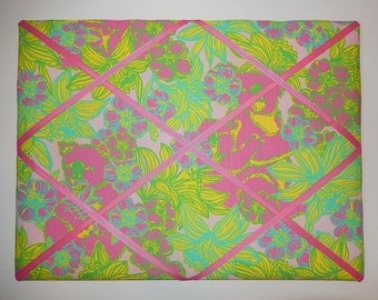 New memo board made with Lilly Pulitzer Pink Big Squeeze fabric