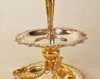 Victorian EPERGNE Set Aesthetic pattern CORNUCOPIAS Goldwashed Silverplate 18 in tall 8 in Diam