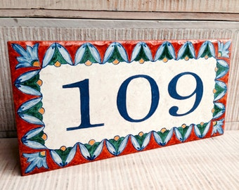 Hand Painted Address Tile