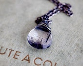 Tourmalinated Necklace Quartz Silver Pendant Silver PoleStar Rain Storm