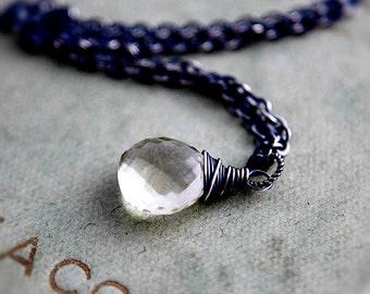 Scapolite Necklace, Quartz Necklace, Crystal Necklace, Scapolite Pendant, Gemstone Pendant, Wire Wrapped, Bamboo, Sterling Silver, PoleStar