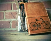 Leather Journal - Leather sketchbook Refillable - Leather Bicycle Journal - monogram - personalize - Bike