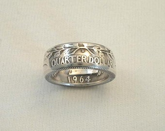 Size 4 1/2 Coin Ring. 1964 Washington Silver Quarter. Reversed. Crevice Toned Finish.