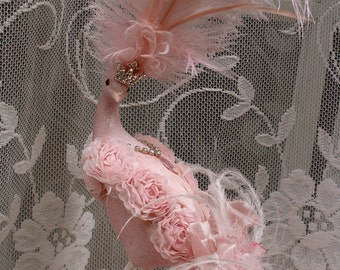 Pink Princess Peacock for Marie Antoinette Shabby Chic Birthday Cake Topper Centerpiece Decoration