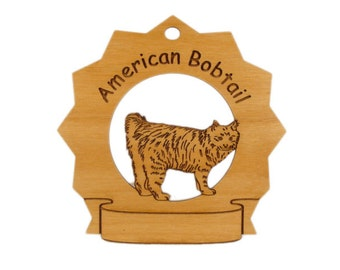 7013 American Bobtail Cat Personalized Wood Ornament