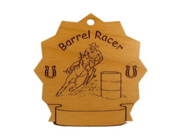 8070 Barrel Racer Horse Personalized Wood Ornament - Free Shipping