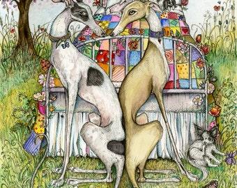 Greyhound Dog Art Print - Valentine Illustration