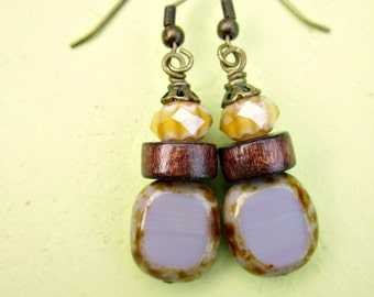 Dark Wood with Yellow and Lavender Fire Polished Glass on Rustic Brass Dangle Earrings: Corn Flower