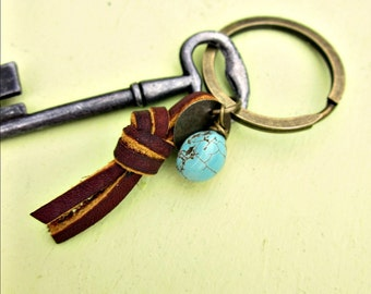 Rustic Brass Keyring or Purse Charm with Leather and Turquoise Accents: Cliff