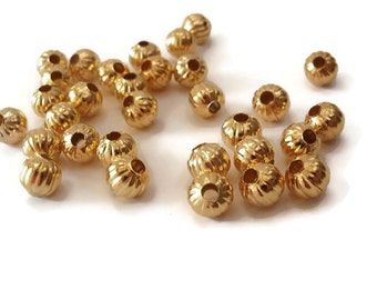 25 Beads, 8 mm, Jewelry Making Bead Supply, Beautiful 8mm Round Gold Color Corrugated Iron