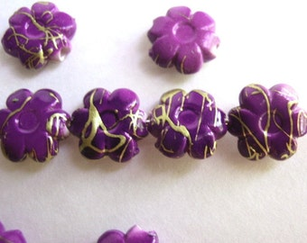 25 Flower Shaped Drawbench Beads, Jewelry making Supply, Purple with golden thread-like patterns,  Acrylic bead