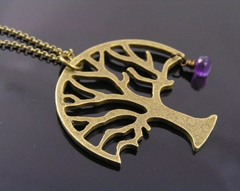 Large Tree of Life Necklace, Amethyst Tree of Life Necklace, February Birthstone Necklace, Customizable Tree Necklace
