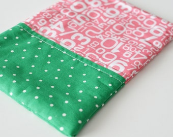 SALE**  Pink and Green Polka Dot -  E-Reader Zipper Pouch (fits kindle, nook, kindle fire, samsung galaxy tab and most other e-readers)