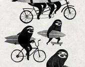 A4 print - Sloths on bikes