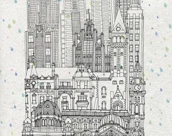 Melbourne city print (A4)