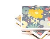 Floral Tile Coasters - Set of 4 Coasters (Slate, Blue, Yellow, Cream)