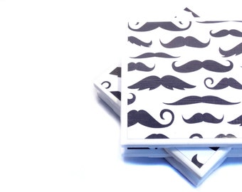 Tile Coasters - Black and White Mustaches - Set of 4 Ceramic Tile Coasters