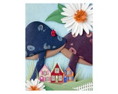 Toadstool Lane - woodland mushroom fairy gnome home scene - postcard art print of an original paper sculpture by Tiffany Budzisz