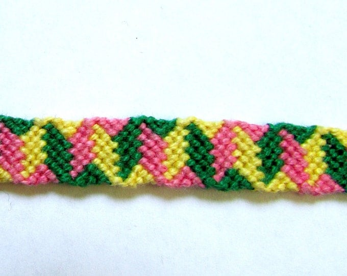 Friendship Bracelet-Green, Yellow & Pink ZigZag