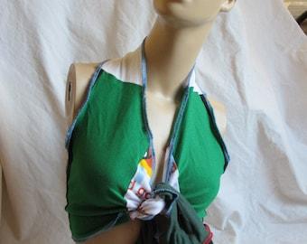 SALE - OOAK Colorblock Jersey Tie Front Halter Top - S/M (3664)