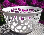White Bowl with Carvings - Eye catching