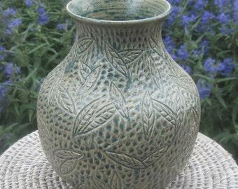 Vase Falling Leaves in Antique Blue - Visit shop for more Carved Pottery