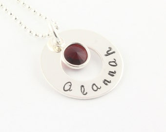 Mother's Day Gift - Custom Personalized Sterling Silver Circle Birthstone Necklace - Hand Stamped Gift for Mom or Grandma