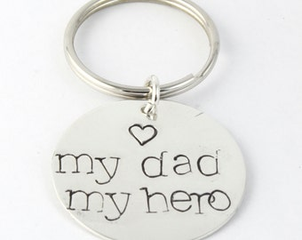 Personalized My Dad My Hero Keychain Key Chain - Custom Key Ring - Sterling Silver Keychain - Father's Day Keyring Gift for Dad or Grandpa