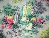 Vintage Fabric - Garden Fountain Scene Barkcloth - Spectrum Original Fabrics