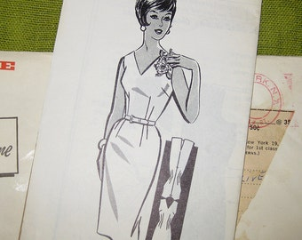 1950s Vintage Sewing Pattern - Wiggle Dress with V-Neck - Sheath Dress - Mail Order Pattern / Size 12 Factory Folds