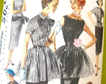 1950s Overskirt Dress Pattern Simplicity 1337 Evening Sheath Skirt Peplum Tops Vintage Sewing Pattern / Size 16