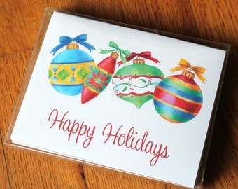 Ornaments holiday cards with envelopes (pack of 10)