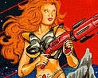 Galactica Sci-Fi Pinup Girls Alexander Henry Cotton Fabric HALF YARD