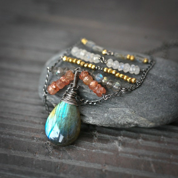 Feldspar Chevron - Labradorite Moonstone and Sunstone Wire Wrapped Sterling Silver Necklace