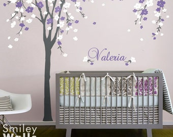 Cherry Blossom Tree Wall Decal Cherry Blossom Wall Decal Personalized Name Decal Nursery Wall Decal Baby Room Decor Flower Tree