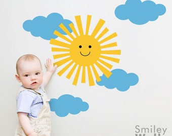 Sun Wall Decal, Clouds Wall Decal, Nursery Wall Decal, Happy Sun Sticker, Smiley Sun and Clouds Wall Sticker for Children Baby Nursery