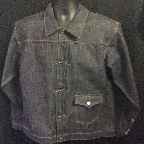 1930s Style Mens Shirts Evil Denim 1930s Vintage Reproduction One Pocket Denim Jacket  AT vintagedancer.com
