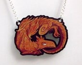 Red Dragon acrylic charm necklace