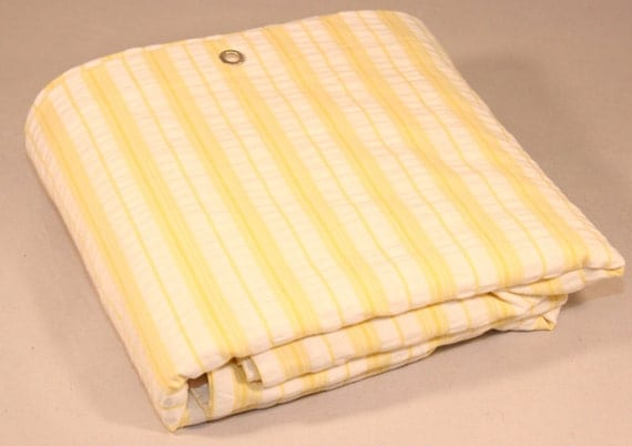 Yellow And White Stripe Shower Curtain Seersucker 72x72