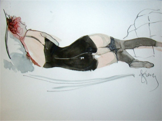 Nude painting- Boudoir Session 2.3 - original watercolor nude painting by Gretchen Kelly