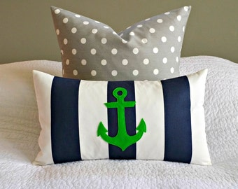 Modern Anchor Lumbar Pillow Cover - Navy and White Stripe - Grassy Green Anchor