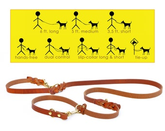 8-Way Lead in TAN--the most versatile 6 ft. dog leash ever