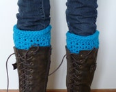 Crocheted Teal/Aqua Boot Cuffs