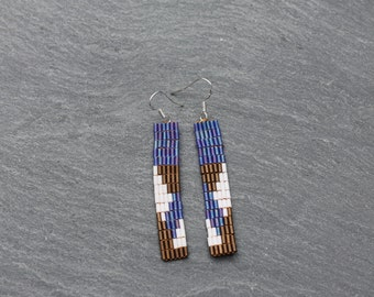 Purple, Brown and Off-White Beaded Rectangle Earrings