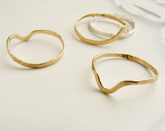 Gold stacking ring, knuckle ring, hammered spike or plain gold band, 14kt gold filled knuckle ring