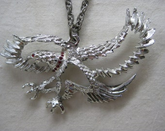 Eagle Bird Silver Red Necklace Rhinestone Vintage Pendant